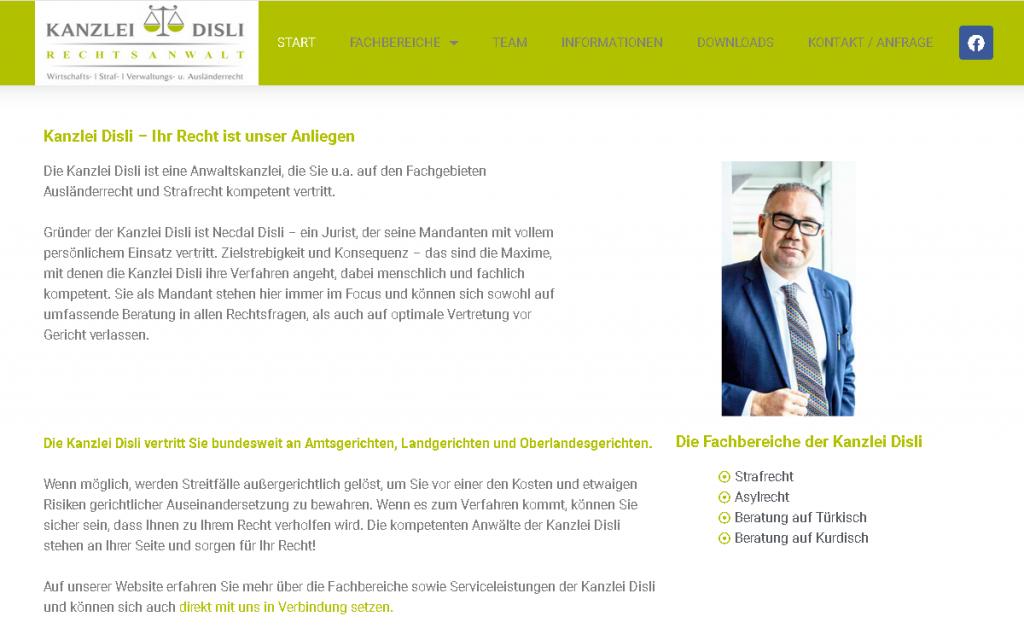 Erstellung von Webseiten durch Medienservice24 org Bsp Kanzlei-Disli.de